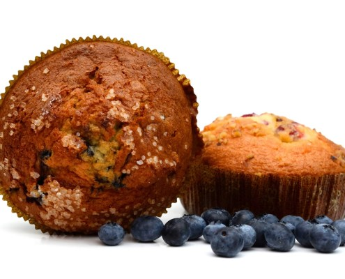 Fresh baked blueberry muffins at The Complex Bean - Coffee Bar and Bakery
